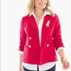 NWT CHICO'S Sz 2 Chic Red Boucle Textured Jacket L